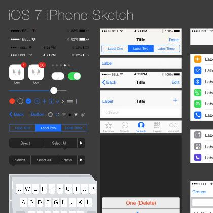 iOS7 GUI for Sketch (iPhone)