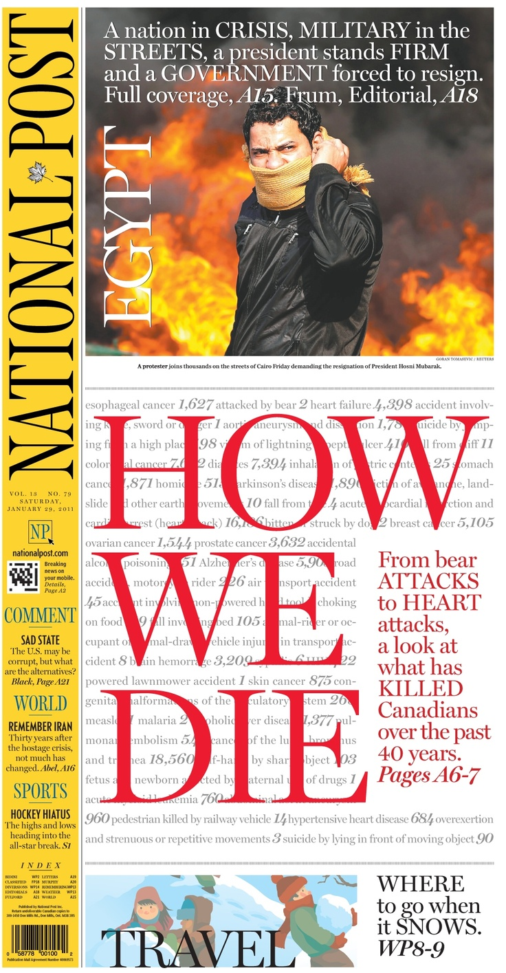 The National Post (Canada). For the third time in its 13-year history, the National Post has been named the World's Best-Designed newspaper. The Society for News Design chose the National Post and four other publications as the best in the world after reviewing 230 entries representing 39 countries.