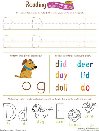 Get Ready for Reading: All About the Letter D | Youngins ...