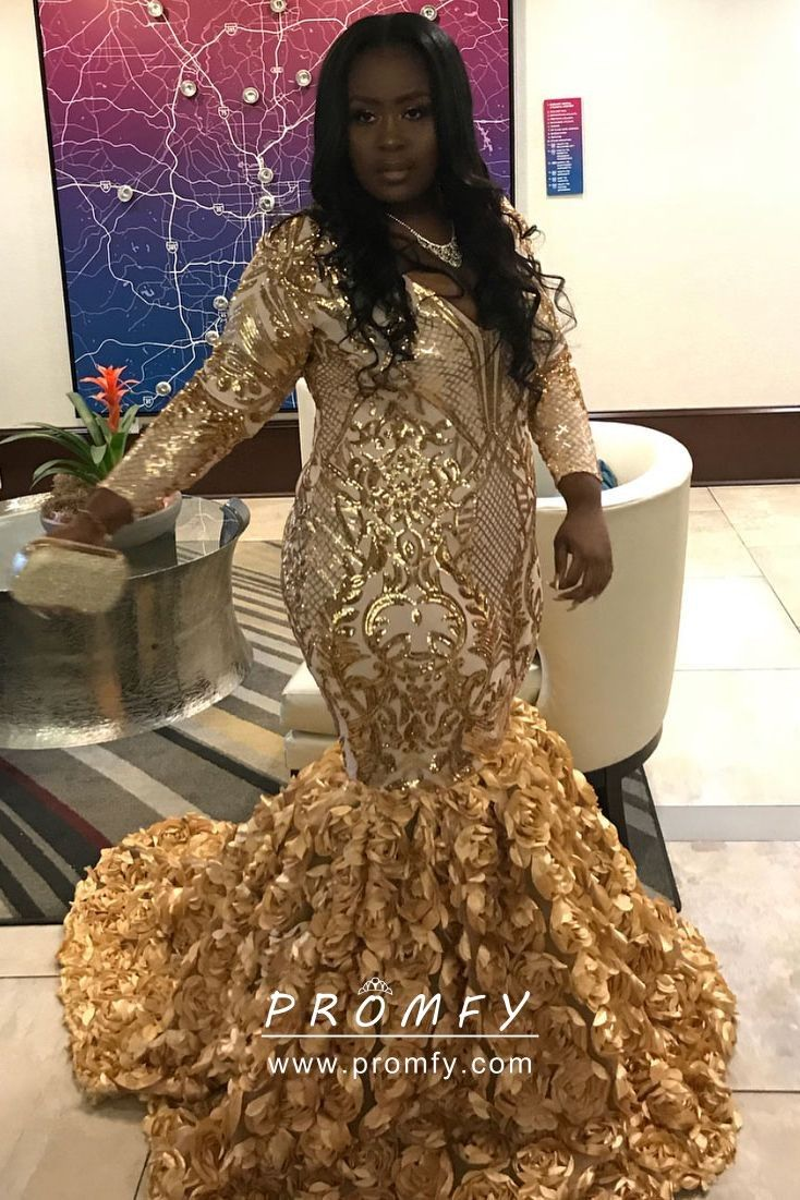 6a256d05c27c Sparkly gold sequin and 3D rose drop waist mermaid skirt African American  plus size prom dress. Deep V neckline, long sleeve floor length 3D rosette  mermaid ...