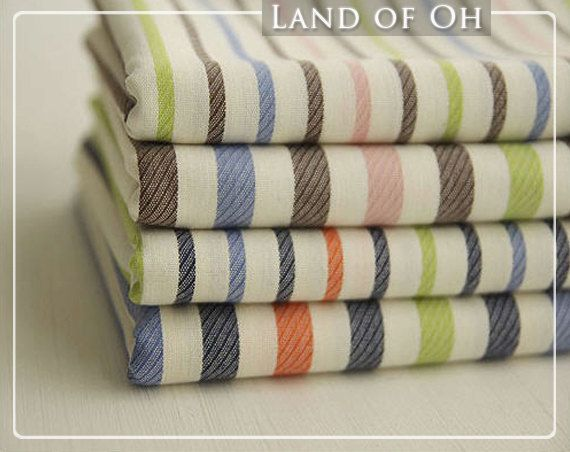 Yarn Dyed Cotton Fabric Love Stripes in 4 Patterns per by landofoh, $11.75