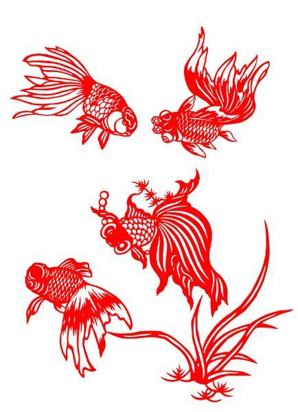 Chinese Papercut Art - Gold Fish by Kang Zhan Jie