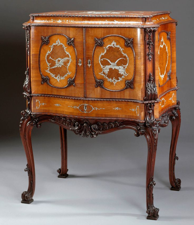 Jewel cabinet  by William Vile (c. 1700-67)  in 1762.  This sumptuous object, often seen as William Vile's masterpiece, was the single most costly piece of furniture Vile made for either the King or Queen. Placed in the Queen's private apartments in the south-east angle of St James's Palace, the jewel cabinet was part of the expensive refurnishing of St James's undertaken by Vile. - Royal Collection Trust