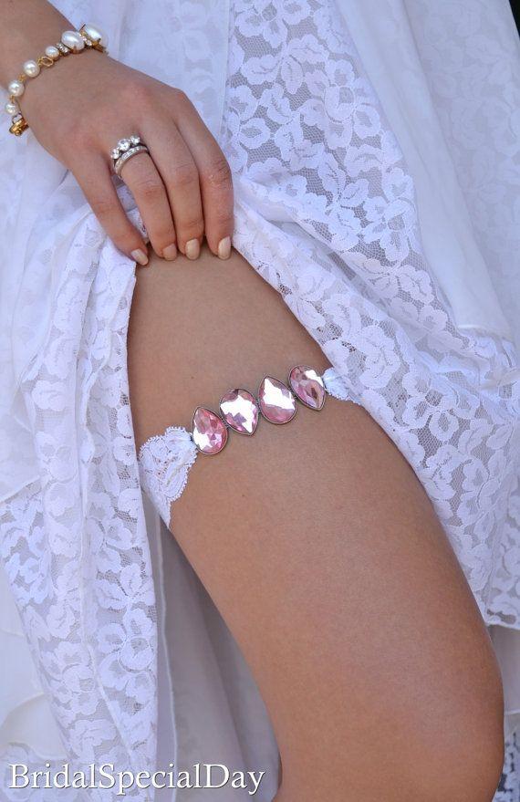 Pink Wedding Garter White Bridal Garter by BridalSpecialDay