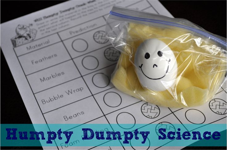"Humpty Dumpty Science: We could experiment with this activity the day we read, ""Chickens Aren't The Only Ones"". The idea could be used on a different day in the farm unit or around Easter."