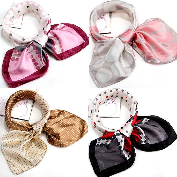 Шарф цвет блок украшение компактный мочалку вилочная часть шелк шарф узор в горошек шелк шарф squareinto шелк шарф