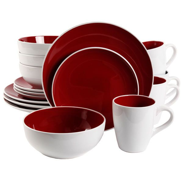 Red Stoneware Round Dinnerware Set 16 Piece Contemporary Service for Four #Gibson  sc 1 st  Pinterest & 11 best Dinnerware Sets images on Pinterest | Casual dinnerware ...