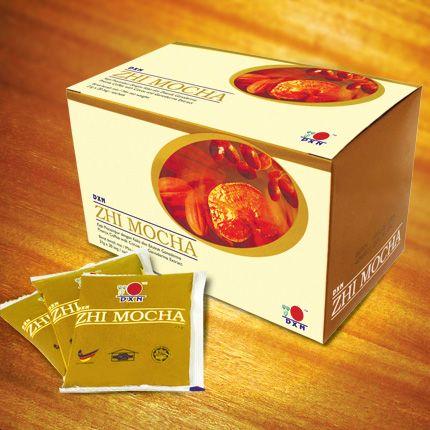 Zhi Mocha:  DXN Zhi Mocha is een variant van Lingzhi koffie die speciaal is bedacht voor koffie liefhebbers die ook van de chocolade smaak houden. Deze rijke en aromatische Zhi Mocha wordt gemengd met instant koffie poeder, gemaakt van de geselecteerde koffiebonen, rietsuiker, Ganoderma extract en cacaopoeder. Nu kunnen liefhebbers heerlijk van Zhi Mocha koffie genieten met een vleugje cacao! http://ganodermakoffie.dxnnet.com/