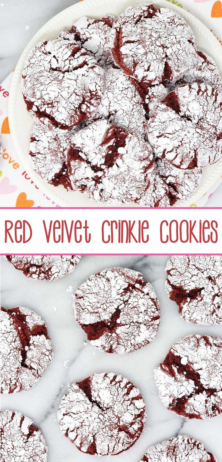 Red Velvet Crinkle Cookies – a six-ingredient, red velvet cake mix cookie doused in powdered sugar and baked to crinkle superbness; perfect for red velvet enthusiasts.
