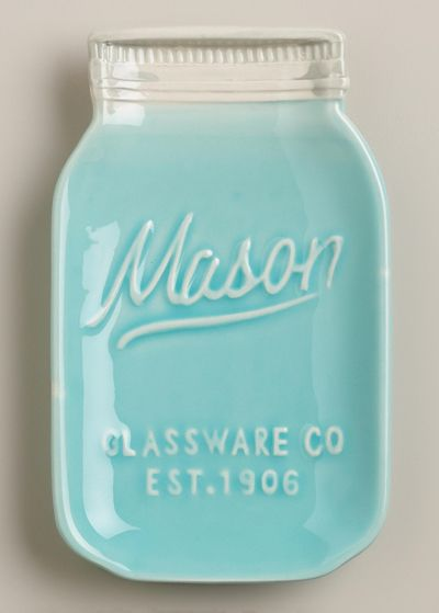 Mason Jar Ceramic Spoon Rest I SO WANT THIS! The color makes me swoon!