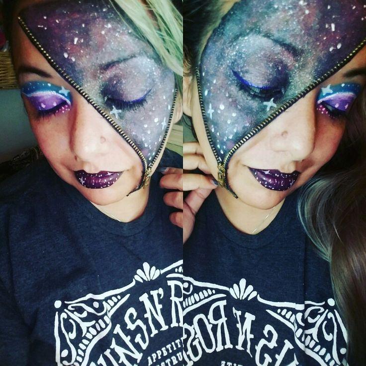 Halloween Galaxy Zipper Face Easy Makeup Idea                                                                                                                                                                                 More