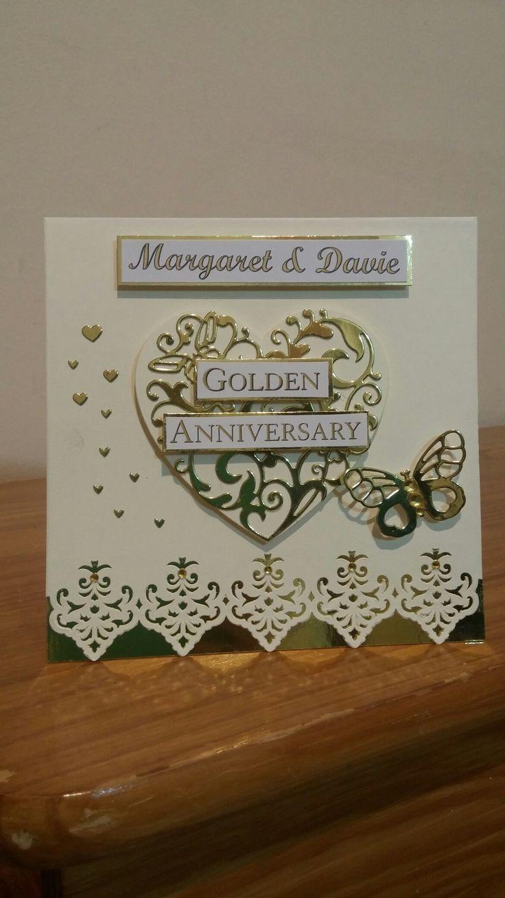 golden wedding card making ideas%0A Handmade golden wedding anniversary card