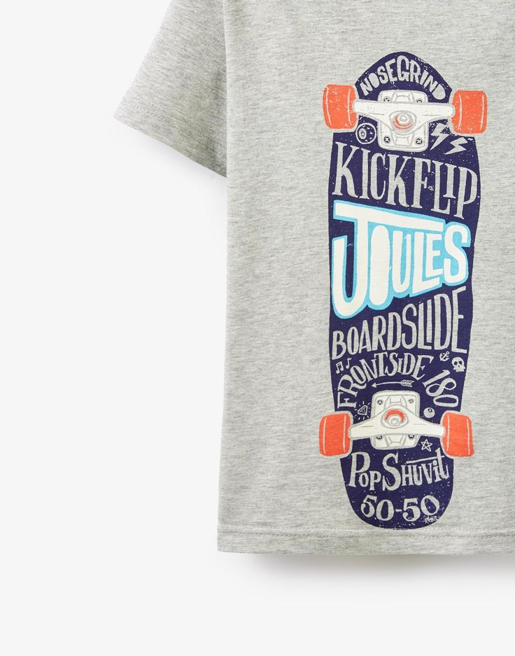 Marly Grey Marl Skateboard Screen Print T-Shirt | Joules UK