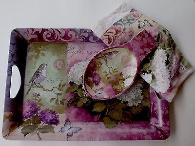 Used Decorative Serving Tray Hand Towel and Spoon Rest Bundle Purple Hydrangea
