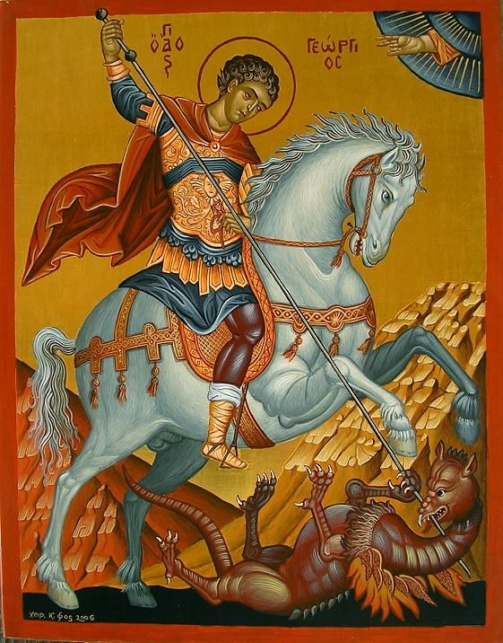 Georgos web 18-2-2008 018.jpg - Nr. 6 Der heilige Georg. Abschrift einer Ikone aus dem Museum in Chania, Kreta des Malers Emmanuel Tzane (16...
