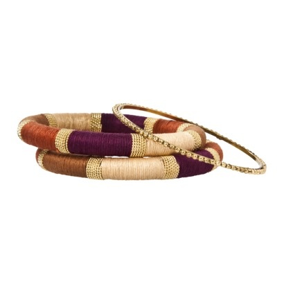 Threaded Bangle Bracelet Set - Orange/Purple