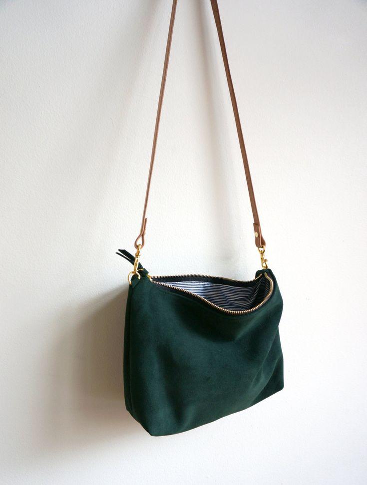 Green Suede Mini Hobo / Suede Bag / Purse / Crossbody Bag / Shoulder Bag / Everyday Bag / Green Bag