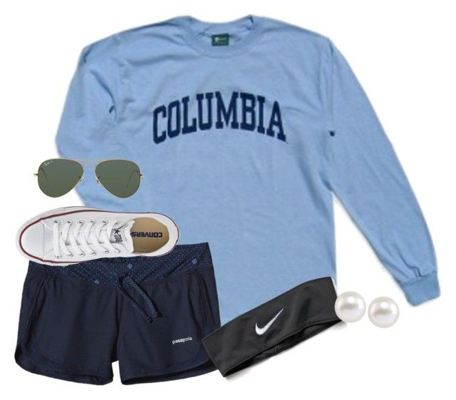 """Patagonia shorts r cute!!"" by econgdon ❤ liked on Polyvore featuring Columbia, Patagonia, NIKE, Converse, Carolee and Ray-Ban"