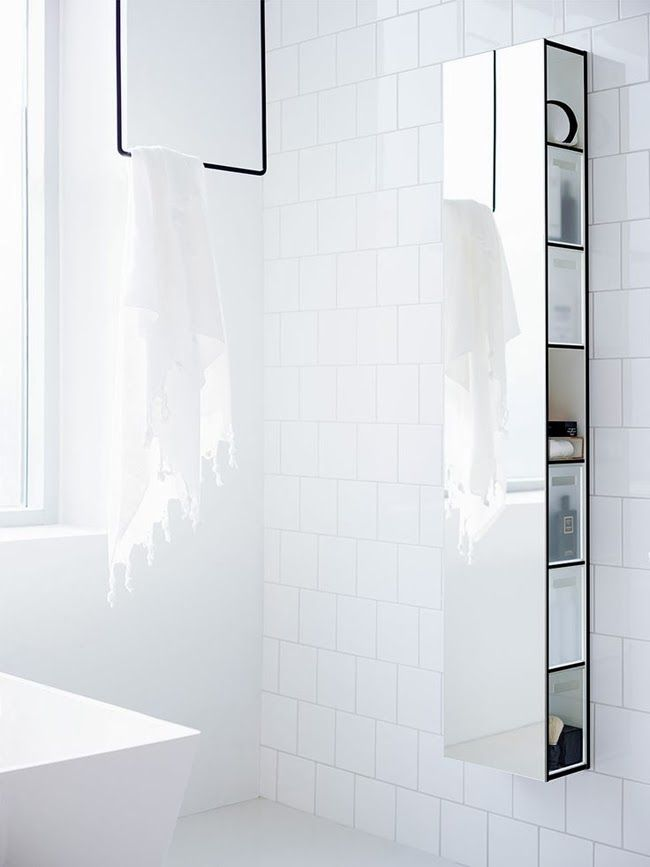 // smart mirrow/ shelve by Aspen Bath. would be as great in a hall way (to store hats and scarfs) as in a bath room