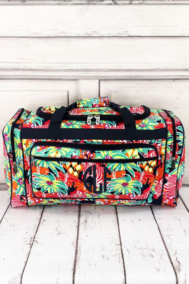"Jungle Life Duffle Bag with Navy Trim 23"" #MZEB423-NAVY"