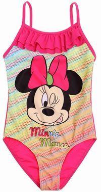 Nové - Tmavorůžovo-barevné jednodílné plavky s Minnie zn. Disney