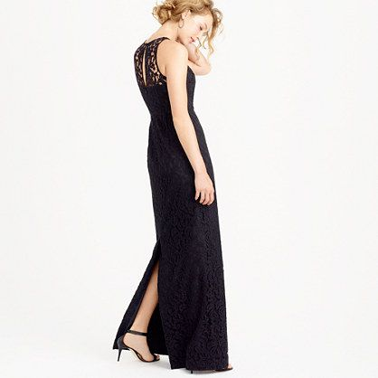 """This dress is made from a corded Leavers lace that we sourced from a sixth-generation family-owned mill in Rhode Island (they've been perfecting the art of lace making since 1859). With a sleek silhouette, a sheer illusion neckline, a full skirt and a discreet keyhole at back, it's a polished pick for every invitation on your refrigerator. <ul><li>Fitted bodice with interior boning for added support.</li><li>Falls to floor, 64"""" from high point of…"""