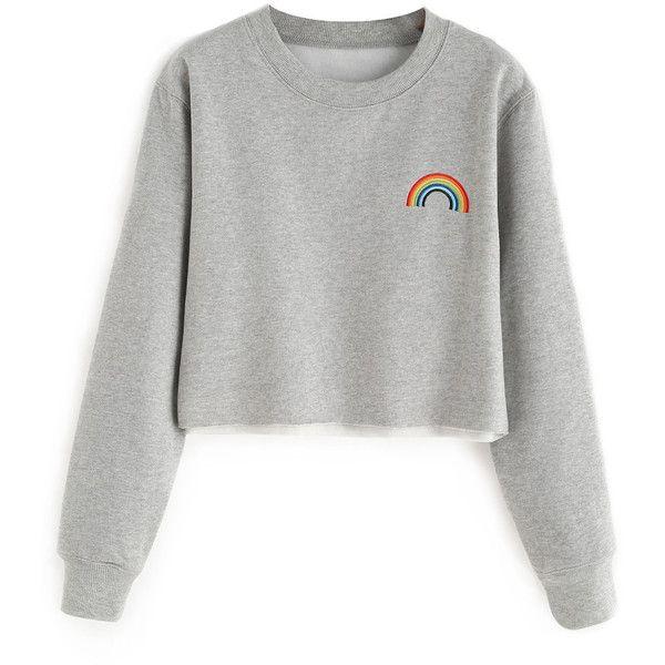 Rainbow Cropped Sweatshirt ($27) ❤ liked on Polyvore featuring tops, hoodies, sweatshirts, shirts, sweaters, sweatshirt, cut-out crop tops, rainbow sweatshirt, white sweatshirt and rainbow crop top