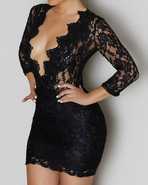 Sexy Plunging Neck 3/4 Sleeve See-Through Solid Color Lace Dress For Women