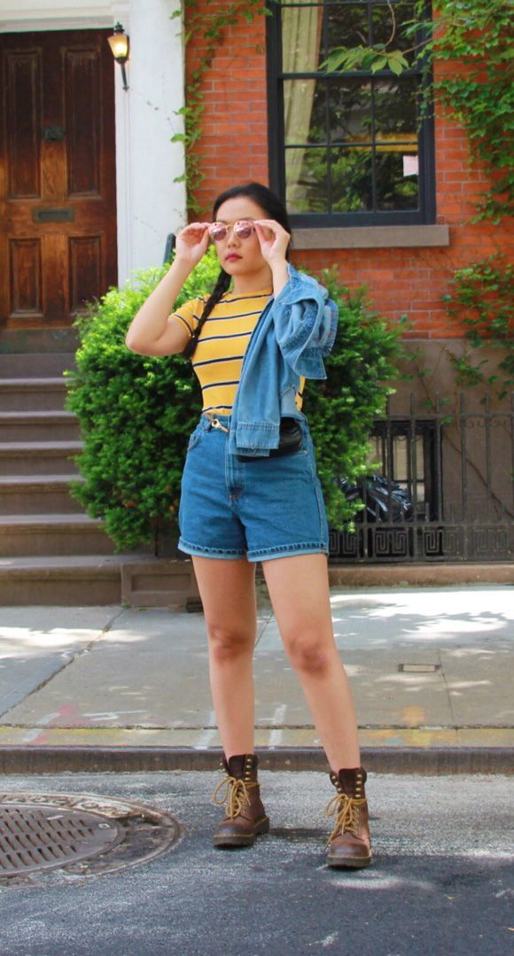4cda7faf9b 90 s inspired outfit. I shot this 90 s look at the  Friends  apartment  building on the corner of Grove and Bedford St. Yellow Striped T-shirt with  ...