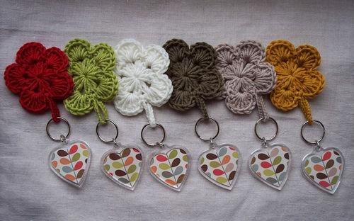 Handmade ♥ Keyring using Orla Kiely Multi Stem Official papers & Crochet Flower