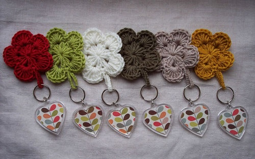 Handmade ♥ Keyring using Orla Kiely Multi Stem Official papers & Crochet Flower