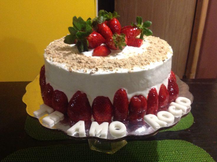 Cake fresas con crema