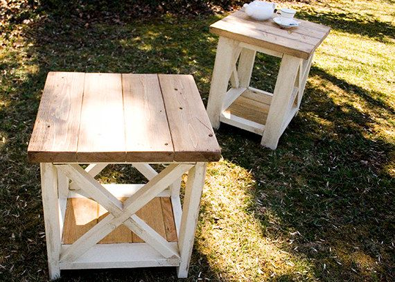 Custom Listing For Quentin   Custom Farmhouse End Table   Rustic Side Tables    Living Room Tables   Bedroom Tables
