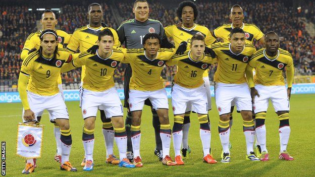 Colombia's line-up for their friendly against Belgium