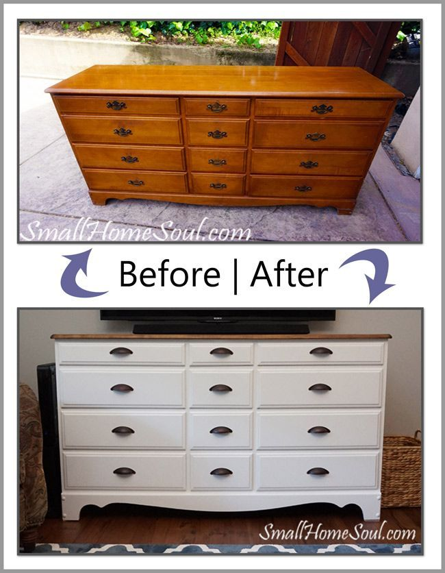 You can make a TV Console from an Old Dresser with just a little paint and some new hardware.  This went from ugly duckling dresser to a beautiful centerpiece.