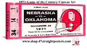 1971 Game of the Century- OU vs. Nebraska canvas ticket art, football art, college football art, vintage football art, historic football art, historic football posters, Oklahoma football art, Nebraska football art