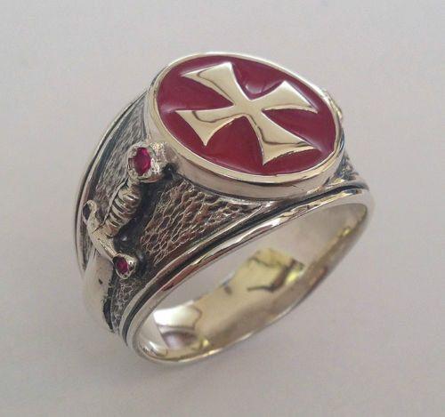 KNIGHTS TEMPLAR MASONIC tempelritter cross silver 925 ring red enamel  / Handmade