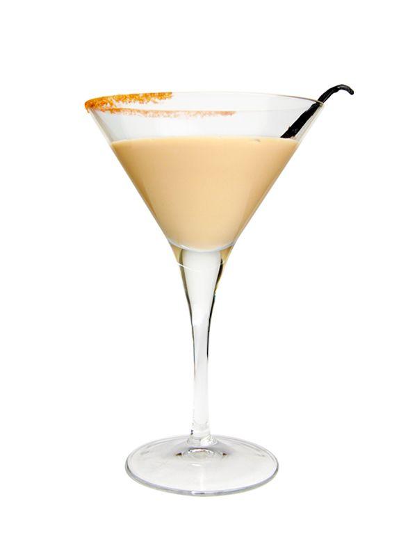 Yogatini - 1 oz Snowfox - ¾ oz Galiano - ¾ oz Frangelico - 3 heaping tbsp Astro cappuccino yogurt  Combine ingredients in shaker and strain into a chilled martini glass.  Presentation : Half sugar cocoa rim ( 3/4 sugar, 1/4 Cocoa) & Vanilla bean (optional)