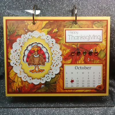 "ONECRAZYSTAMPER.COM: October Calendar Page byShari using High Hopes Stamps ""Sm. Turkey"" (P101)"