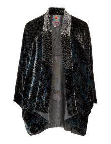 Johnny Was Open front printed velvet jacket in Dark-Blue / Versicolour