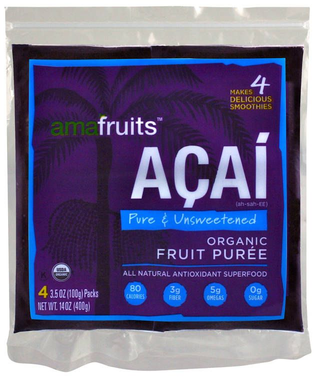 Native to the rainforests of South America, the açai (pronounced ah-SIGH-ee) is a small purple berry that has been touted as a weight-loss and anti-aging aid. The fruit contains very high levels of antioxidants in the form of anthocyanins, which help fight cancer and heart disease. It also contains oleic acid—the same heart-healthy fat in olive oil. Buy packs of unsweetened frozen açai that you can blend with any sweet fruit to make a smoothie without the added sugar found in the juice…
