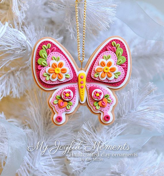 Handcrafted Polymer Clay  Butterfly Ornament