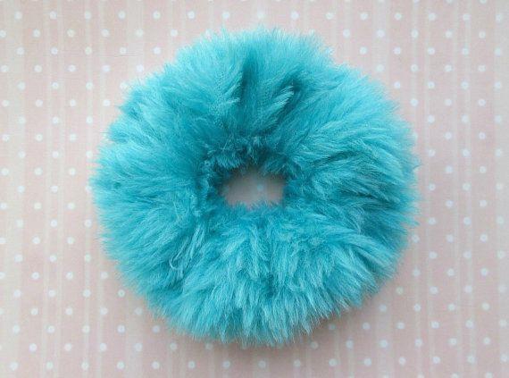 Pastel Kawaii Furry Hair Scrunchie, Clueless 90s Cute Pastel Blue Faux Fur Hair Band, Soft Grunge, Hair Tie, Ponytail Holder