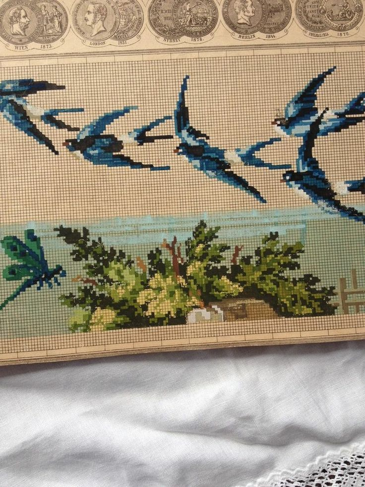 Antique Berlin Woolwork Pattern - Flying Birds