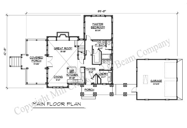 Mill creek post beam steel creek ff main level for Steel beam house plans
