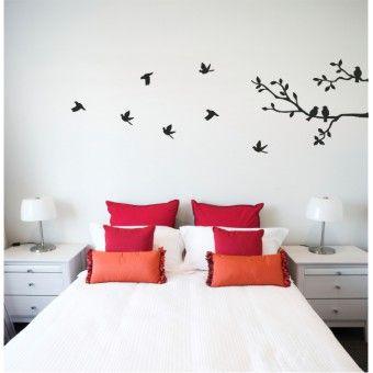 """VINYL WALL STICKER """"Birds Flying off Branch"""""""