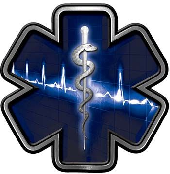 Star of Life with Heartbeat Emergency EMS EMT Paramedic Decal in Blue