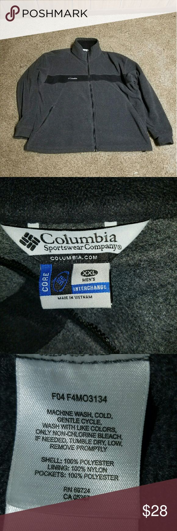 """Mens Columbia jacket Mens Charcoal Grey with Black Chest Stripe and White   Stiched Columbia/logo XXL 2XL Full Zip Core Interchange Jacket with lower zip pockets and interior pouch pockets. Loose fit hem has lock tab core on each side for adjustable fit arm pit to arm pit 30"""" collar to hem 29 and 1/2"""" Columbia  Jackets & Coats Lightweight & Shirt Jackets"""