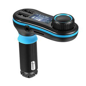 AVANTEK Transmetteur FM Bluetooth Mains Libres Sans Fil Kit de Voiture, Lecteur MP3 et WMA, Chargeur de Voiture avec Bras Flexible, Fente…