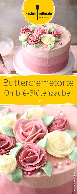 Traumhaft schöne Buttercremetorte, mit Blüten-Verzierung. Auch als Hochzeitstorte geeignet!